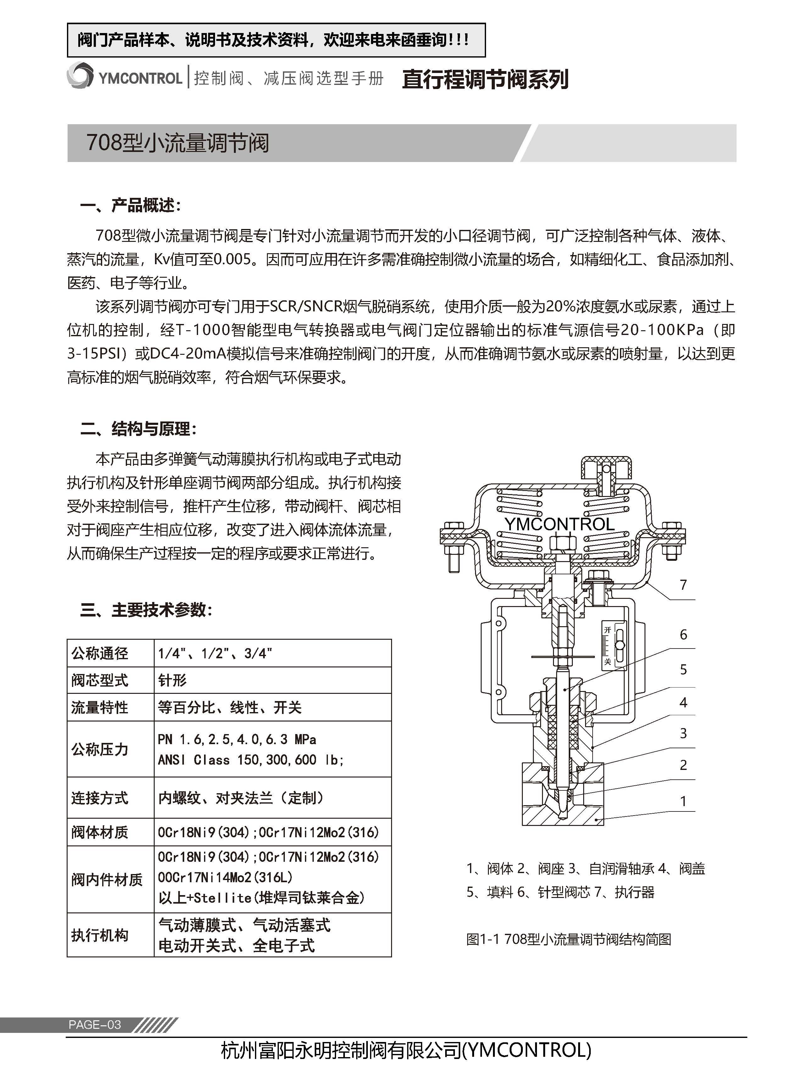 708ME-ZXPE气动薄膜微小流量调节阀产品样本