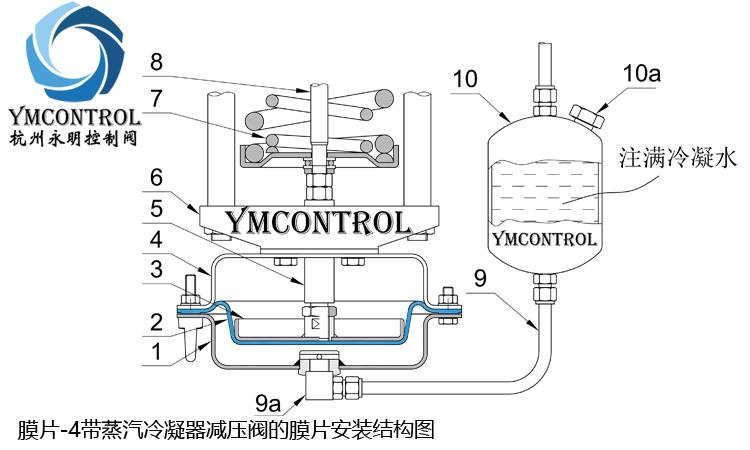 帶蒸汽冷凝器減壓閥的膜片安裝結構圖