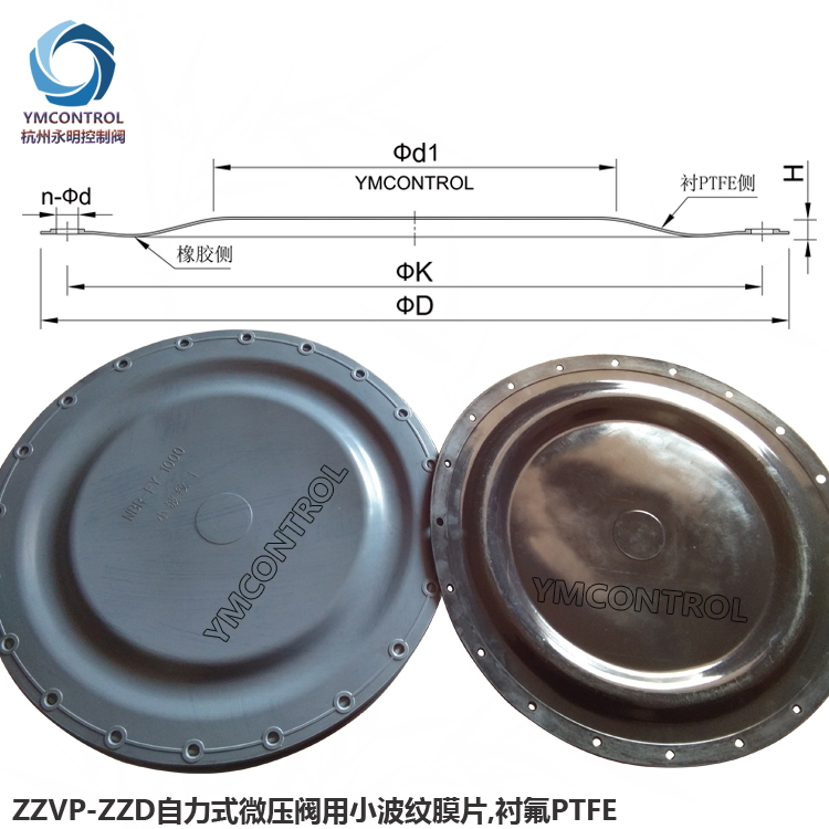 氮封阀用聚四氟乙烯PTFE小波纹膜片